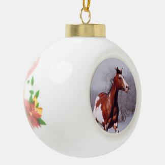 Adorno De Cerámica Tipo Bola Pinte el caballo en el ornamento de la bola de la