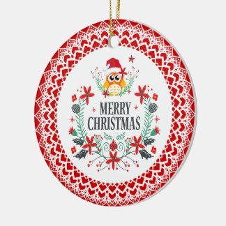 Adorno De Cerámica Tipografía de las Felices Navidad y guirnalda del