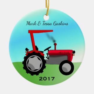 Adorno De Cerámica Tractor de granja rojo del vintage lindo