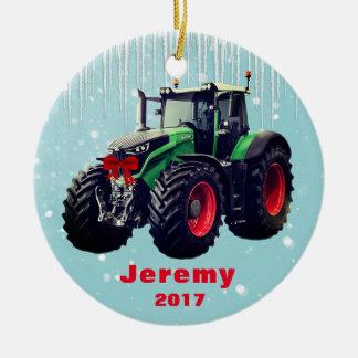 """Adorno De Cerámica Tractor verde moderno personalizado """"navidad 20XX"""