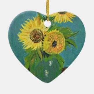 Adorno De Cerámica Tres girasoles en un florero, Van Gogh