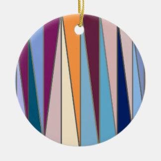 Adorno De Cerámica Triángulos, azul, púrpura y oro modernos de los