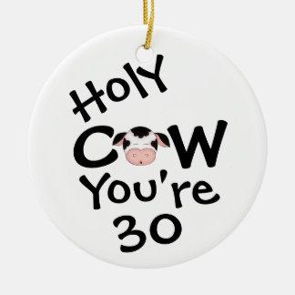 Adorno De Cerámica Trigésimo cumpleaños personalizado de la vaca