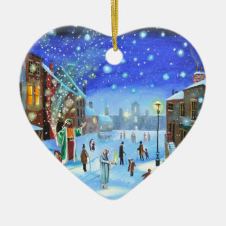 Adorno De Cerámica Una escena de la calle del invierno de Scrooge del