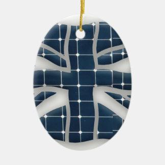 Adorno De Cerámica Union Jack con los paneles solares fotovoltaicos