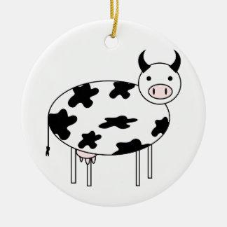 Adorno De Cerámica Vaca ilustrada