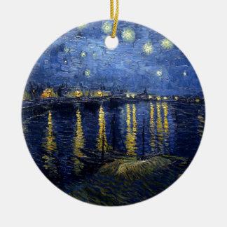 Adorno De Cerámica Van Gogh: Noche estrellada sobre el Rhone