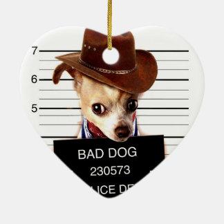 Adorno De Cerámica vaquero de la chihuahua - perro del sheriff