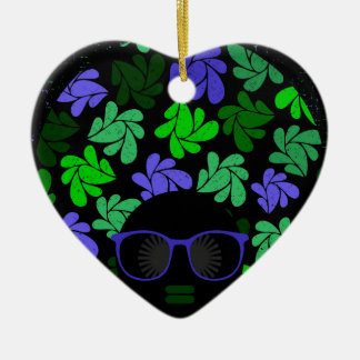 Adorno De Cerámica Verde y azul de la diva del Afro