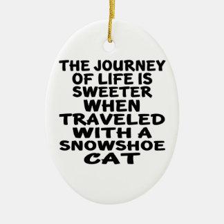 Adorno De Cerámica Viajado con el gato de la raqueta