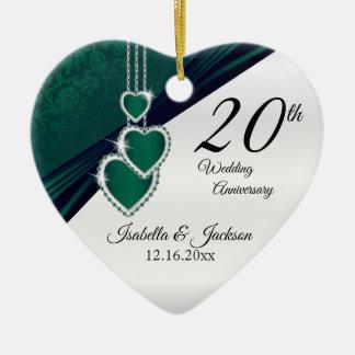 Adorno De Cerámica vigésimo Aniversario de boda del verde esmeralda