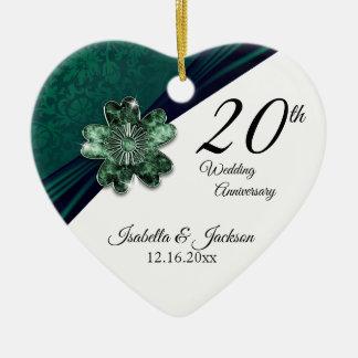 Adorno De Cerámica vigésimo Aniversario de boda esmeralda verde