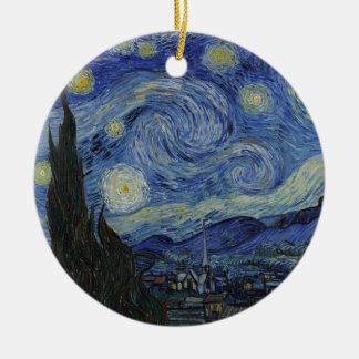Adorno De Cerámica Vincent van Gogh - noche estrellada. Pintura del
