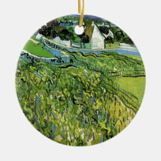 Adorno De Cerámica Viñedos de Van Gogh con Auvers, bella arte del