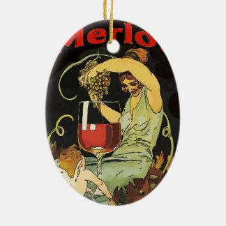 Adorno De Cerámica Vino del Merlot del vintage