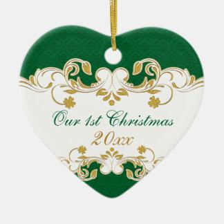 Adorno De Cerámica Volutas verdes del oro blanco, 1r navidad de los