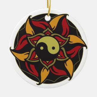 Adorno De Cerámica Yin Yang Lotus floreciente
