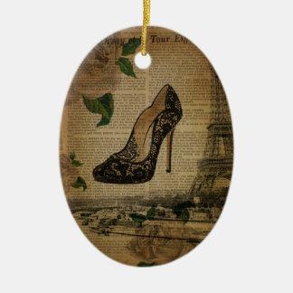 Adorno De Cerámica zapatos del cordón del negro de la torre Eiffel de