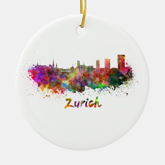 Adorno De Cerámica Zurich skyline in watercolor
