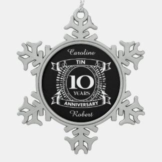 Adorno De Peltre Tipo Copo De Nieve 10ma lata del aniversario de boda