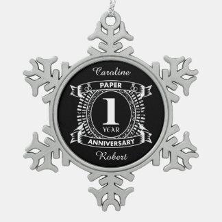 Adorno De Peltre Tipo Copo De Nieve 1r escudo apenado del aniversario de boda