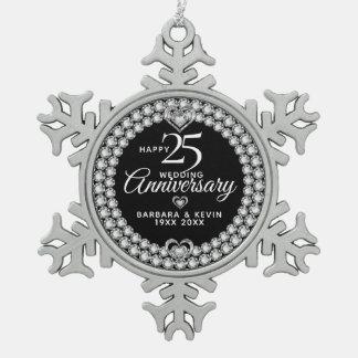 Adorno De Peltre Tipo Copo De Nieve 25to aniversario de bodas de plata de los