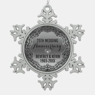 Adorno De Peltre Tipo Copo De Nieve 25to ornamento del aniversario de la plata y de