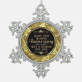 Adorno De Peltre Tipo Copo De Nieve 50.o Negro y oro del aniversario de boda