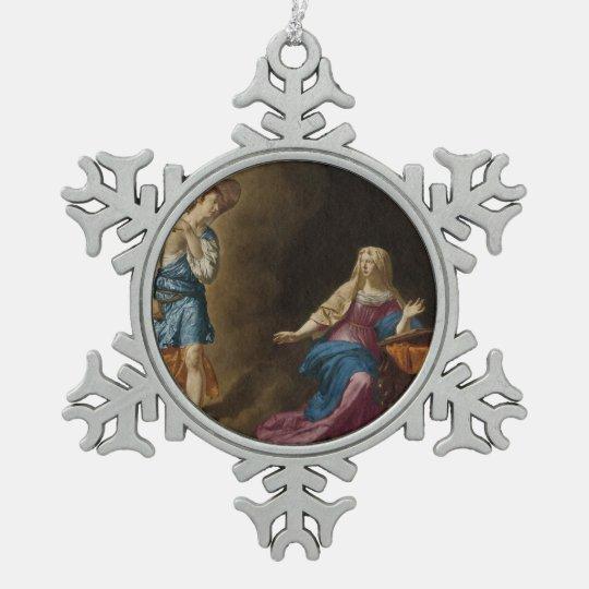 Adorno De Peltre Tipo Copo De Nieve Ángel y Maria del anuncio