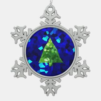 Adorno De Peltre Tipo Copo De Nieve Árbol de navidad moderno azul del día de fiesta