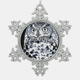 Adorno De Peltre Tipo Copo De Nieve Arte grande del búho de cuernos