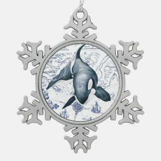Adorno De Peltre Tipo Copo De Nieve Azul del mapa de la orca