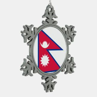 Adorno De Peltre Tipo Copo De Nieve Bandera de Nepal