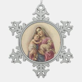 Adorno De Peltre Tipo Copo De Nieve Bebé bendecido Jesús de la madre del Virgen María