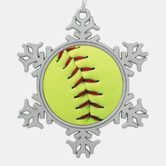 Adorno De Peltre Tipo Copo De Nieve Bola amarilla del softball