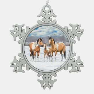 Adorno De Peltre Tipo Copo De Nieve Caballos de la pintura del ante en nieve