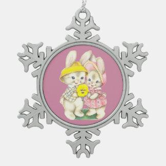 Adorno De Peltre Tipo Copo De Nieve Conejos lindos