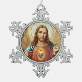 Adorno De Peltre Tipo Copo De Nieve Corazón sagrado de Jesús