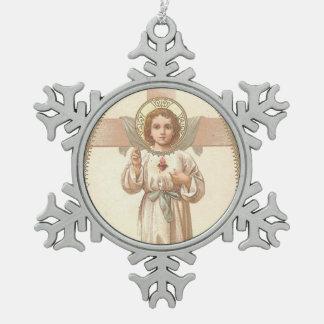 Adorno De Peltre Tipo Copo De Nieve Corazón sagrado del niño Jesús con la cruz