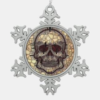 Adorno De Peltre Tipo Copo De Nieve Cráneo de cristal del mosaico, beige