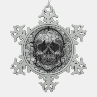 Adorno De Peltre Tipo Copo De Nieve Cráneo de cristal del mosaico, blanco negro