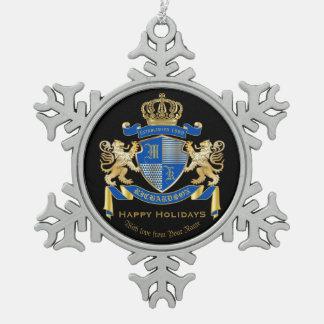 Adorno De Peltre Tipo Copo De Nieve Cree su propio emblema azul del león del oro del