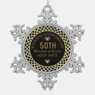 Adorno De Peltre Tipo Copo De Nieve Diseño del aniversario del oro y de boda de los