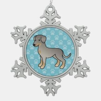 Adorno De Peltre Tipo Copo De Nieve Doberman del cervatillo/perro alemán del Pinscher