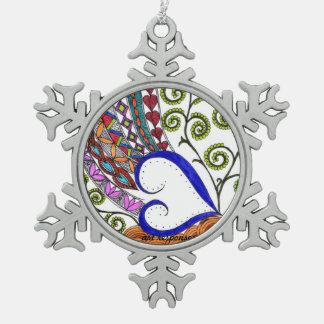 Adorno De Peltre Tipo Copo De Nieve El corazón del ornamento del navidad