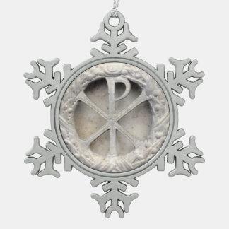 Adorno De Peltre Tipo Copo De Nieve El monograma de Cristo