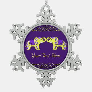 Adorno De Peltre Tipo Copo De Nieve Elefante de la alheña (amarillo/púrpura)