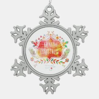 Adorno De Peltre Tipo Copo De Nieve Felices Navidad retras de la acuarela