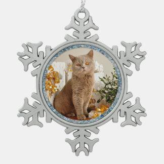 Adorno De Peltre Tipo Copo De Nieve Gato de la frontera de la chispa y ornamento