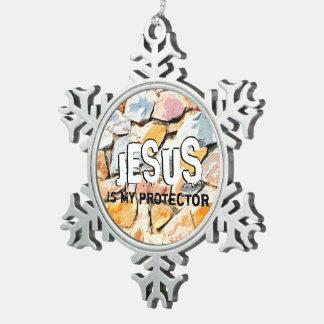 Adorno De Peltre Tipo Copo De Nieve JESÚS me protege